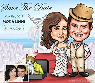 save the date caricature invitation