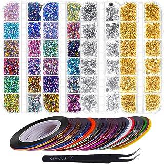 Anezus 7100 Pcs Nail Art Rhinestones Nail Gems Kit with 30 Assorted Colors Nail Art Striping Tape and Pickup Tools for Nai...