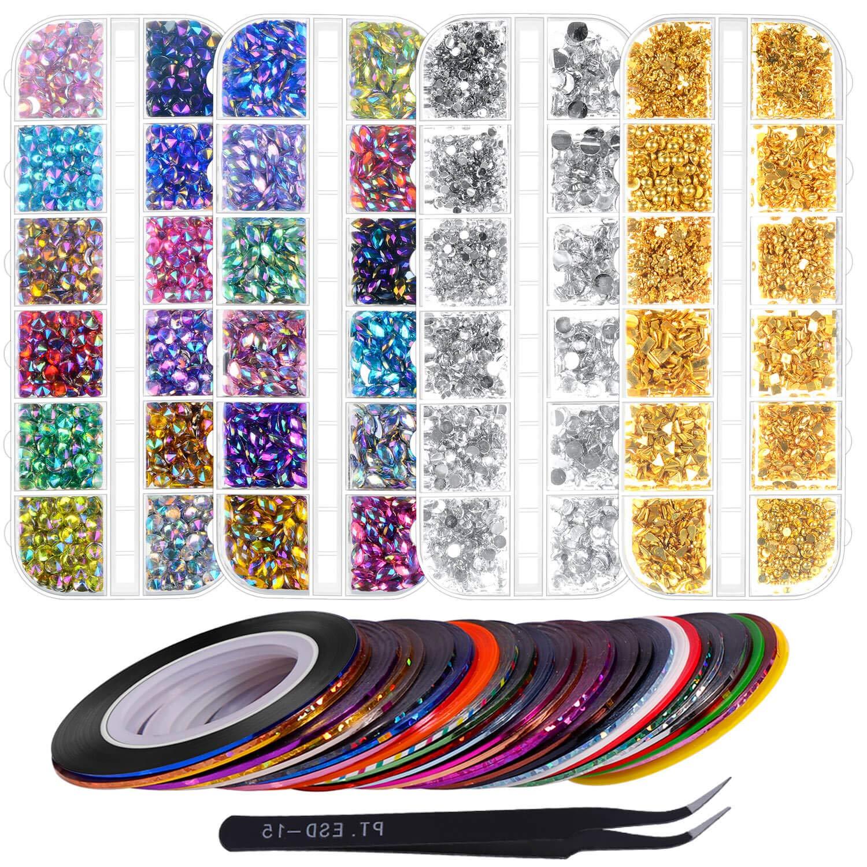 Anezus 7100 Pcs Nail Art Rhinestones Max 82% OFF Seasonal Wrap Introduction Assor Gems 30 Kit with