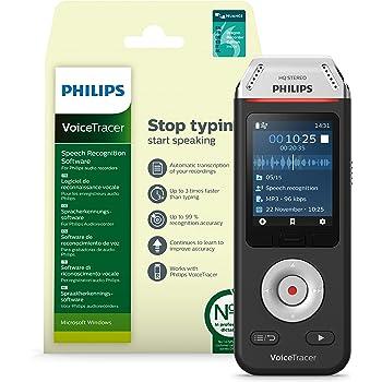 Philips Speech VoiceTracer DVT2110 Audio Recorder with Dragon Speech Recognition Software DVT2805 (DVT2810 Bundle)
