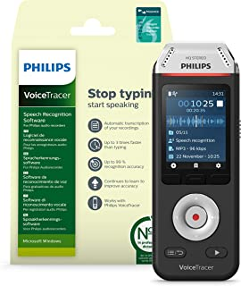 Philips VoiceTracer Audio Recorder with Dragon Speech Recognition Software DVT2810
