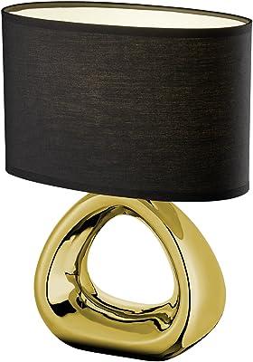 Reality, Lampe de table, Gizeh 1xE27, max.60,0 W Tissu, Noir, Corps: Céramique, or L:24,0cm, L:15,0cm, H:34,5cm IP20,Interrupteur de cordon