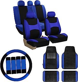 FH Group FB030115 Combo Set: Light & Breezy Cloth Seat Covers (Airbag & Split) W. F14407 Floor Mats Blue/Black Color