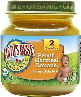Earth's Best 第二阶段婴儿食物,香蕉桃燕麦香蕉味,4 盎司罐装,12 件装