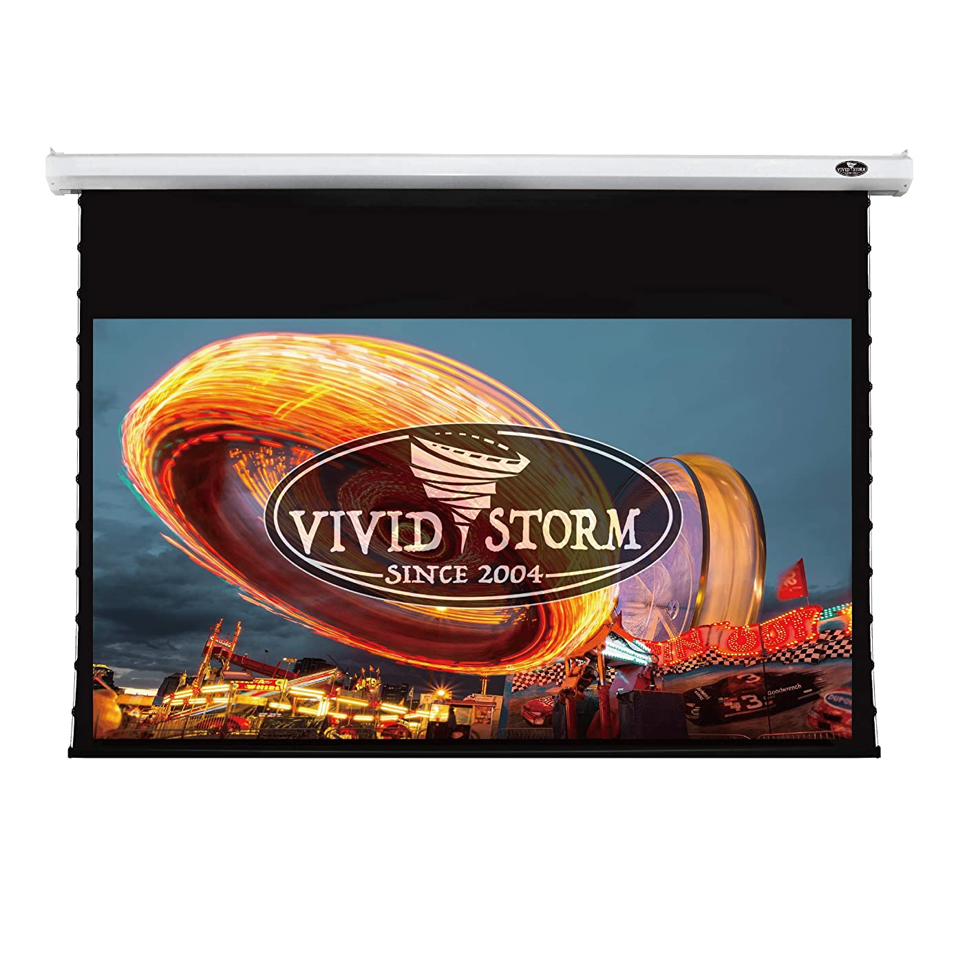 VIVIDSTORM 4K/3D/UHD Deluxe Tab-tensioned Screen,Electric Drop Down Projector Screen,120-inch Diagonal 16:9, White screen material, Wireless 12V projector trigger,Model: V6JLW120H