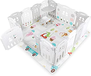 Kidsclub 12+2 Panel Foldable Baby Playpen,Baby Safety Play Yard Kids Activity Centre Portable Baby Fence with Table, Seat ...