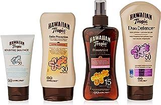 Hawaiian Tropic PACK Ultra Protección - Kit con Aceite Seco Bronceador Spray SPF 15 + Crema Solar Ultra Radiance SPF 30 + ...