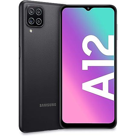 "Samsung Galaxy A12, Smartphone, Display 6.5"" HD+, 4 Fotocamere Posteriori, 128 GB Espandibili, RAM 4 GB, Batteria 5000 mAh, 4G, Dual Sim, Android 10, 205 g, Ricarica Rapida [Versione Italiana], Nero"