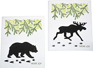 More Joy - Eco-Friendly Swedish Dishcloths, Pack of 2 (Black Bear and Moose)