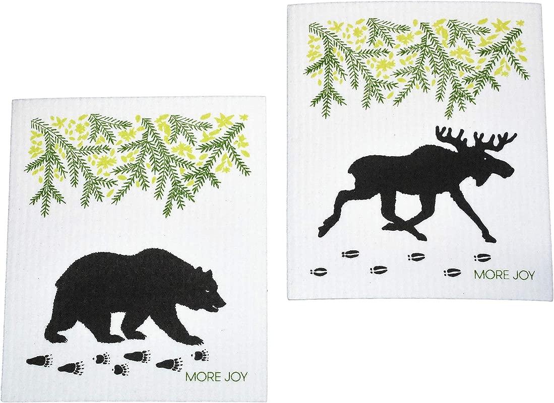 More Joy Eco Friendly Swedish Dishcloths Pack Of 2 Black Bear And Moose