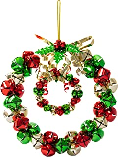 Varmax Christmas Wreath Bell Wreath 2 Pack 9.8 inches and 4.1 inches, Red and Green