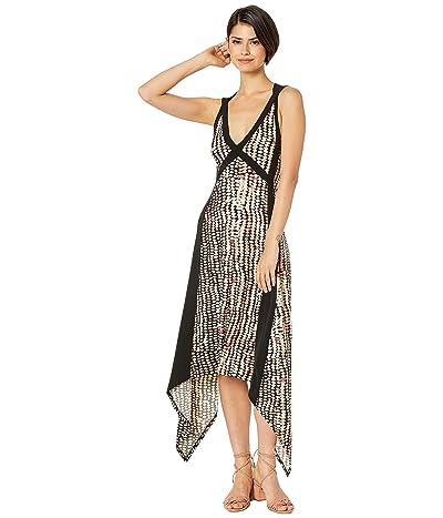 BCBGMAXAZRIA Printed Matte Jersey Asymmetrical Hem Dress (Sandy Dots/Black Multi) Women
