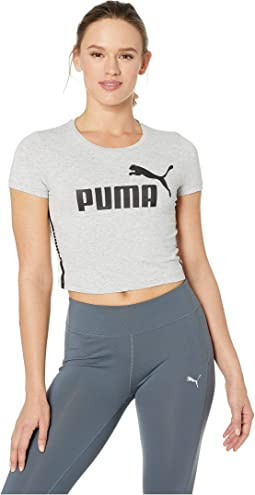 4e73cdda1db623 Light Gray Heather. 1. PUMA. Tape Logo Cropped Tee