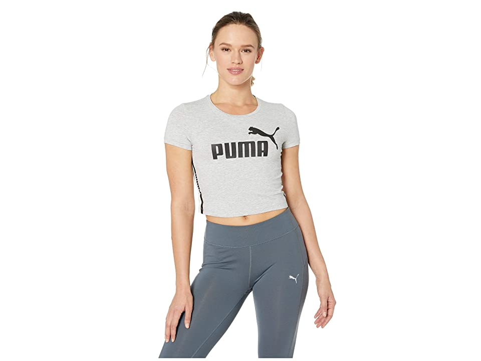 PUMA Tape Logo Cropped Tee (Light Gray Heather) Women