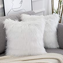 WLNUI Set of 2 Decorative White Fluffy Pillow Covers New Luxury Series Merino Style Faux Fur Throw Pillow Covers Square Fu...