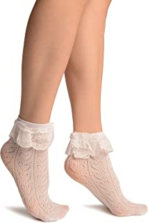 LissKiss, White Crochet Lace With Ruffled Lace Top Ankle High Socks - Socks - Blanco Calcetines Talla unica (37-42)