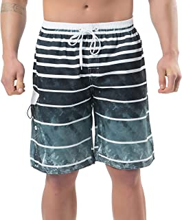 Men's Swim Trunks Beach Board Shorts Dry Quickly Stripe Bathing Suits
