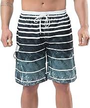 NEOSAN Men's Swim Trunks Beach Board Shorts Dry Quickly Stripe Bathing Suits