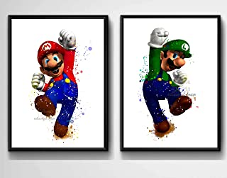 Super Mario Brothers Inspired Digital Prints, Watercolor Painting Effect, Illustration, Nursery Decor, 8 X 10 Unframed