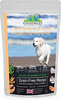 Goodness Multi Meat With Sweet Potato, Carrots & Peas Grain Free With 60% Chicken, Turkey & Salmon For Puppies - 500 G