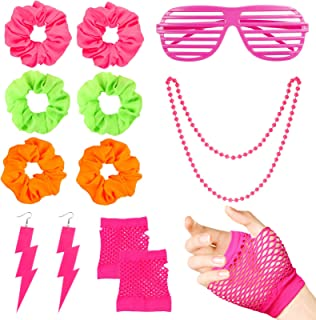WATINC 24Pcs 80's Retro Neon Costume Outfit Accessories for Women 80s Hair Scrunchies for Hair Pink Shutter Glasses Finger...