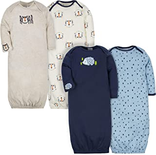 Baby Boys' 4-Pack Gown, Tiger/Hedgehog, 0-6 Months