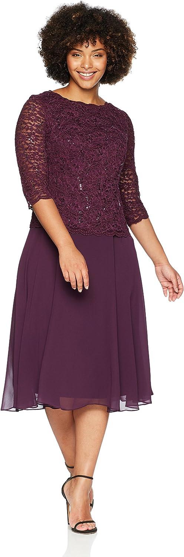 Alex Evenings Women's Plus Size TLength Lace Mock Dress