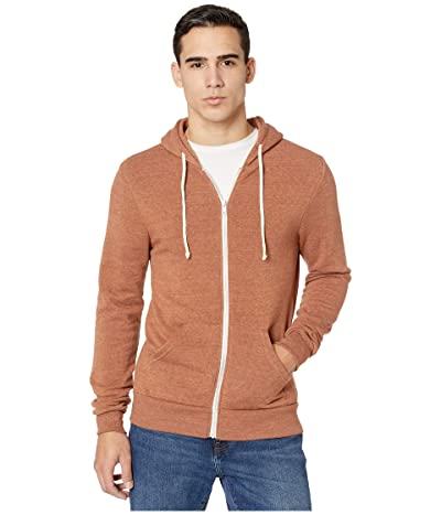 Alternative Rocky Eco-Fleece Zip Hoodie (Eco True Nutmeg Brown) Men