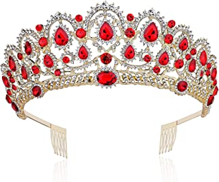 BABEYOND Crystal Queen Crown Prom Pageant Quinceanera Crown Birthday Tiara Rhinestone Wedding Princess Tiara Headband with Comb Pin (Red)