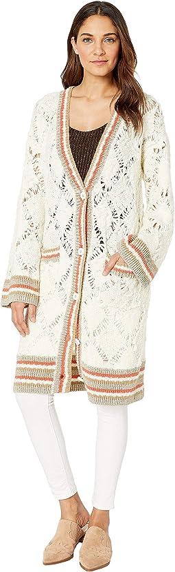 Sweater Slub Long Cardigan with Multi Rib