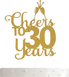 ALPHA K 30th Birthday Cake Topper, 30th Anniversary Cake Topper Cheers to 30 Years- 30th Party Decoration with Premium Gold Glitter…