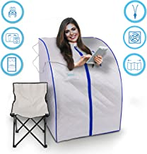 SereneLife SLISAU20SL Oversize Portable Infrared Home Spa | One Person Sauna | with Heating Foot Pad & Portable Chair, Silver