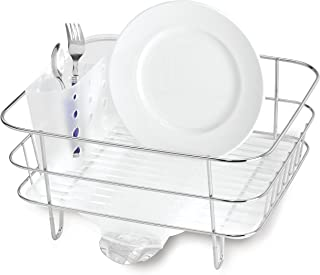 simplehuman Compact Wire Frame Kitchen Dish Rack With Removable Spout, Stainless Steel