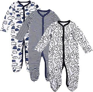 OPAWO Baby Boys' Footed Sleeper Pajamas 3 Pack Long Sleeve Footie Pjs 0-18 Months