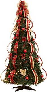 BrylaneHome Flat-to-Fabulous Fully Decorated, Pre-Lit 6-Ft. Christmas Tree - Plaid