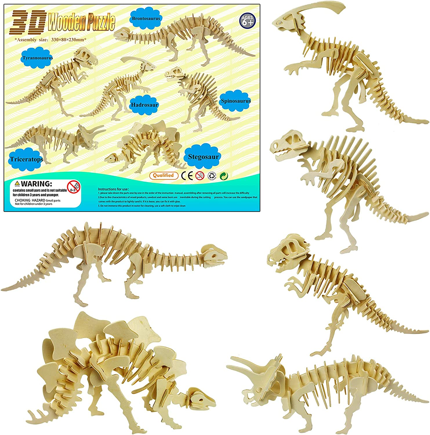 LRIGYEH 3D Wooden Dinosaurs Puzzles for Kids Wood Building Kits Including...