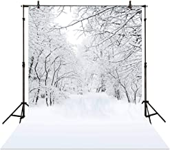 Allenjoy 5x7FT Fabric Winter Wonderland Photography Backdrop Outdoor Snow-Covered Fantasy Forest Background Fairy Tale Chr...
