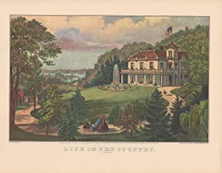Currier & Ives 1952 Vintage Life in The Country, Evening Wow! Color Lithograph