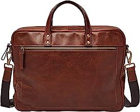 Fossil Men's Leather Double Zip Briefcase, Cognac
