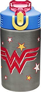 Zak Designs DC Wonder Woman - Stainless Steel Water Bottle with One Hand Operation Action Lid, Built-in Carrying Loop, Kids Water Bottle with Straw Spout is Perfect for Kids (15.5 oz, 18/8, BPA-Free)