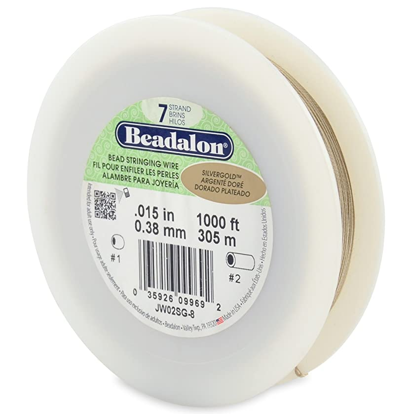 Beadalon 7-Strand Bead Stringing Wire, 0.015-Inch, SilverGold,1000-Feet
