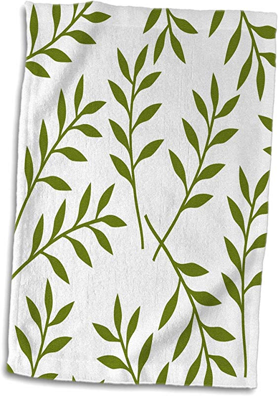 3D Rose Olive Green And White Chic Leaves Towel 15 X 22 Multicolor