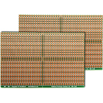 BusBoard Prototype Systems SB4 (Two Pack) Snappable PC BreadBoard, Scored PCB, Snaps Into 4 Small Boards, 2-Layer, Plated Holes, Power Rails, 2.5 x 3.8in (63.5 x 96.5mm)