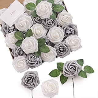 Ling's moment Artificial Flowers Roses 25pcs Real Looking Shimmer Silver Grey Fake Roses w/Stem for DIY Christmas Tree Xmas Wedding Party Centerpieces Arrangements Party Decor