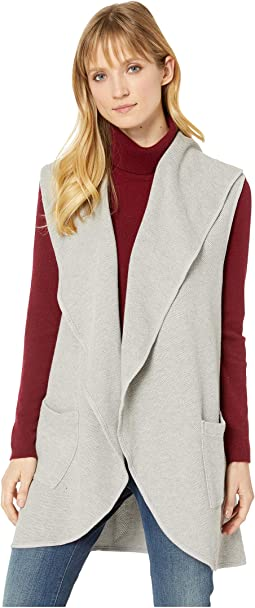 Birds Eye Sweater Draped Collar Long Vest