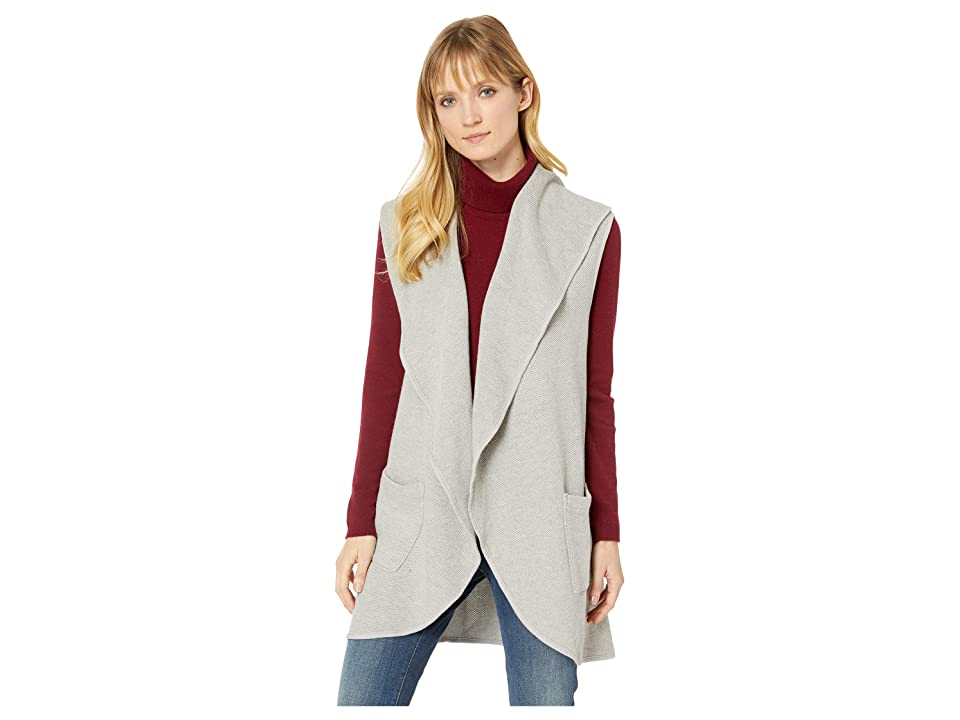 Mod-o-doc Birds Eye Sweater Draped Collar Long Vest (Heather Grey) Women