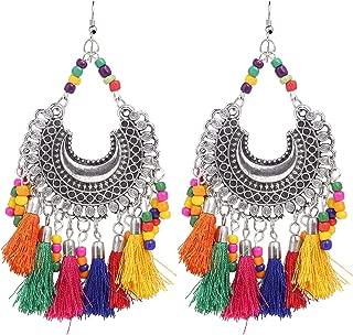 Boho Indian Tribal Gypsy Oxidized Silver Afghani Vintage Retro Thread Tassel Dangle Earrings Jewelry
