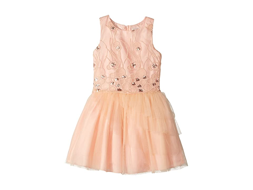 Nanette Lepore Kids Sequins Embroidered Mesh Dress with Layered Tulle (Little Kids/Big Kids) (Peach) Girl
