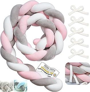 Myllna Tour De Lit Tresse OEKO TEX ® - Douce Tour de lit bebe 2M avec 5 Cordon d'attache idéal pour la Sécurité de votre B...