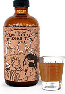 Fire Cider, 8 oz, Original flavor & shot glass, Apple Cider Vinegar Tonic, Pure & Raw, All Certified Organic Ingredients, Not Heat Processed, Not Pasteurized, Paleo, Keto, Whole 30, 16 Shots.